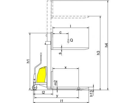 Полуэлектрический штабелер CDD15B-III, г/п 1500 кг (фиксированные вилы)