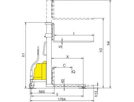 Полуэлектрический штабелер CTD15B, г/п 1500 кг в/п 3500 мм