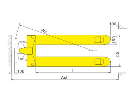 Гидравлическая тележка DB, г/п 2т, длина вил 1150 мм