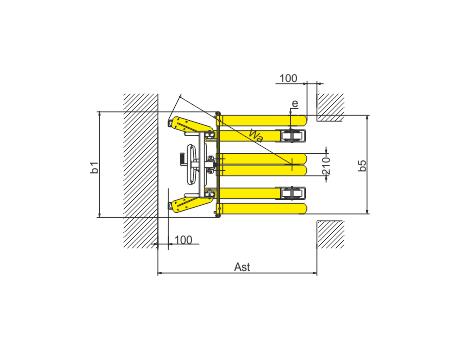 Ручной штабелер серии SDJA1000 г/п 1000 кг, в/п 1600 мм