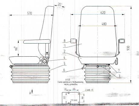 Сиденье машиниста крана унифицированное 103