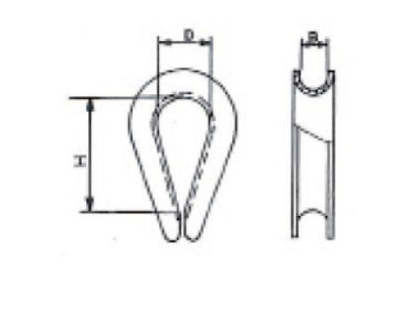 Коуши для стальных канатов, типа DIN 6899 - габаритные размеры