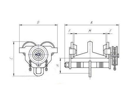 Монорельсовая тележка приводная (кошка) 1,0Б, г/п 12 м - схема