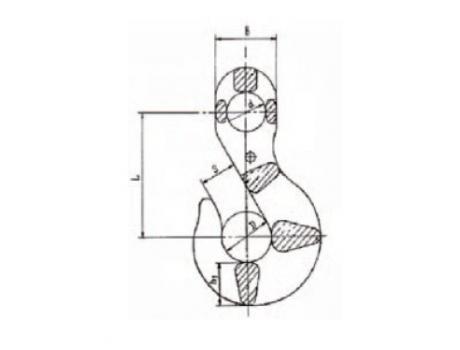 Крюк чалочный (ГОСТ 25573-82) - габаритная схема