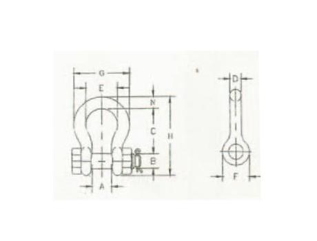 Омегообразные скобы SAE со шплинтовым замком - габаритная схема