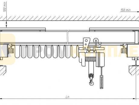 Кран-балка электрическая опорная г/п 1 тонна пролет 13,5 м