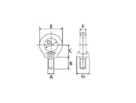 Подъемные рым-болты для подъема по оси болта DIN 580 - габаритная схема