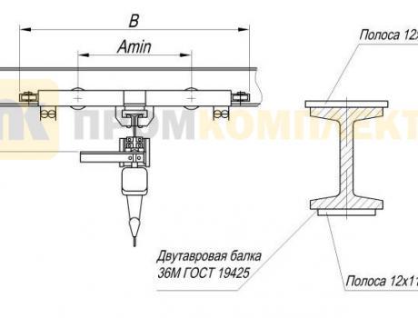 Кран-балка электрическая подвесная г/п 3,2 тонны пролет 12 м