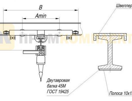 Кран-балка электрическая подвесная г/п 3,2 тонны пролет 15 м