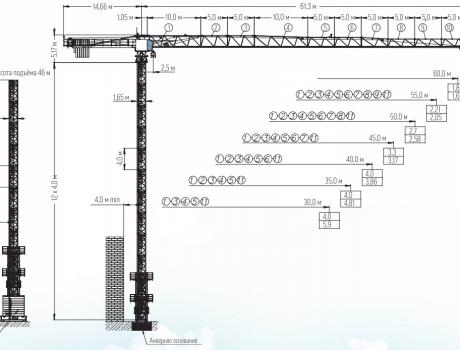 Кран башенный Giraffe TDK-8.180 безоголовочный